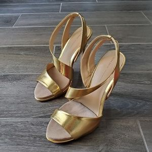 NWOT Zara Gold Sling Back Strappy  Heels - Size 37